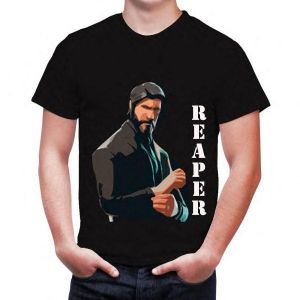 848d7052be0 A black shirt with a picture of Riber in Fortnight for male and female