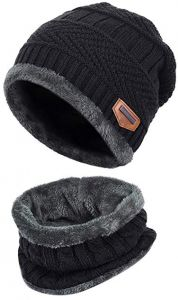 8624efd9b6e Black 2-Pieces Winter Beanie Hat Scarf Set Warm Knit Hat Thick Fleece Lined  Winter Hat   Scarf For Men Women For Men