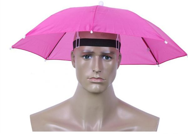 2c6c7e54a41c3 Funny Umbrella Hat Adult and Kids Folding Cap for Beach Fishing Golf Party  Headwear Pink