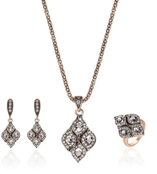 Crystal Rhinestone Geometric Pendant Jewelry Set Women Necklace Earring Ring Set