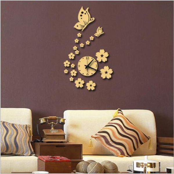 butterfly and flower wall acrylic wall clock 3d acrylic mirror