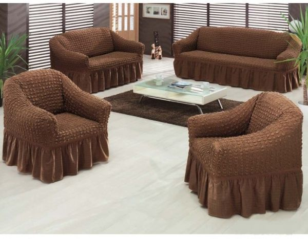 Sofa Covers Set Turkey 4 Pieces Brown