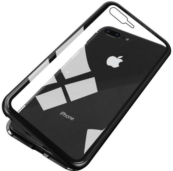 big sale 2f571 4a0af CASEIER Ultra Magnetic Phone Case For iPhone 7 Plus & iPhone 8 Plus Luxury  Glass Cover Case Mobile Phone Accessories - Black