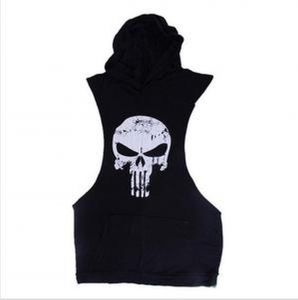 4eaf19a7d48de9 The Punisher Skull muscle sleeveless gym fitness shirt vest with hoodie and  front pouch in Black - Size Large