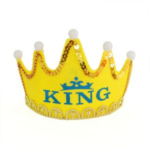 LED Luminous Happy Birthday Party Hats King Cap Crown Baby Shower Decorative Supplies Boy Gifts