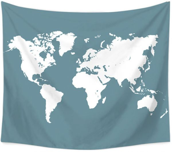 Trendy World Map Tapestry Wall Hanging Abstract Splatter Painting