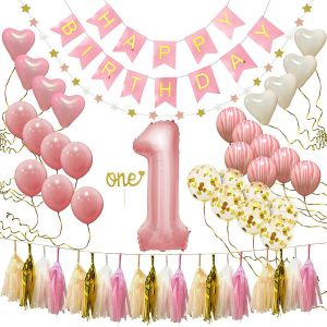 Happy Birthday Banner First Decorations For Girl 1st Baby Number 1 Balloon One Cake Topper Star Garland Marble Pink Gold Confetti