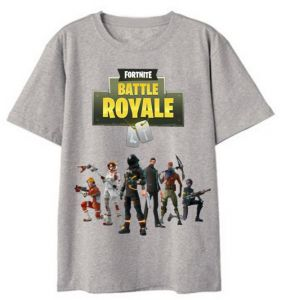 2d4eada2d045 Fortnite short-sleeved summer cotton solid color T-shirt game teenagers  street shooting grey