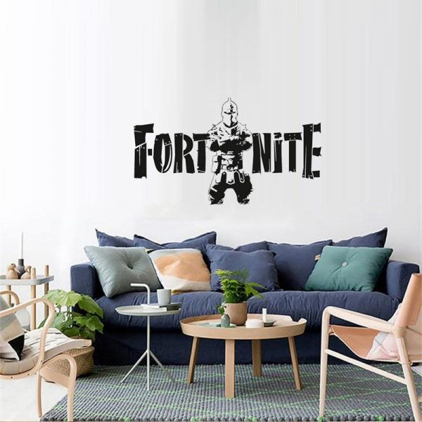 Black Fortress Night Fortnite Game Wall Stickers Metallic Effect