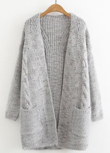 919f6cceef32 autumn Knitted fluffy cardigan V collar mid-length warm comfortable wool  coat for women