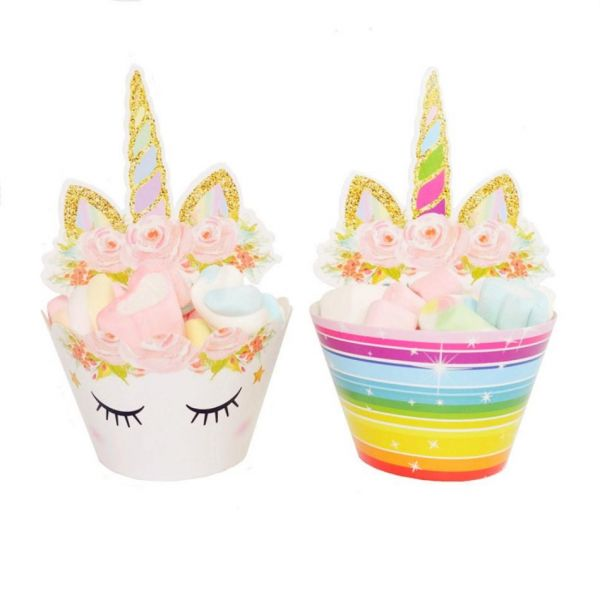 Pack Of 24 Unicorn Birthday Party Supplies Double Sided Cake Cupcake Toppers Horn Decoration Kit For Girl Baby Shower And Wedding