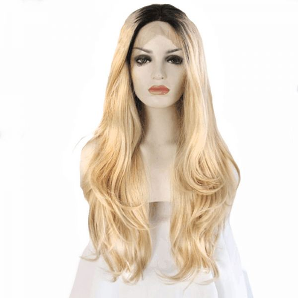 Women s Synthetic Hair Wig Light Yellow Long Curly Stylish Elegant All  Match Wig Accessories  042ea9d90d