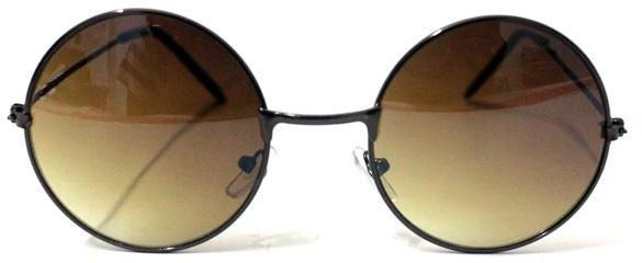 3813d8e3ffea7 Retro Round Sunglasses Unisex for Man and Women with Brown Metal frame and UV400  Lenses.
