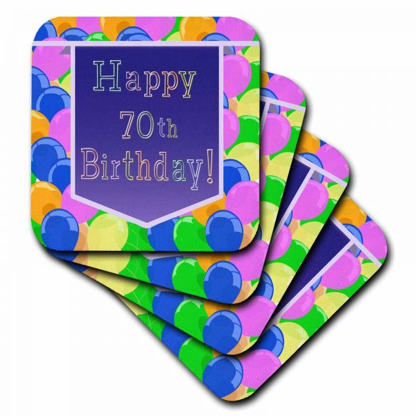 3dRose Cst 173074 3 Balloons With Purple Banner Happy 70th Birthday Ceramic Tile Coaster Set Of 4