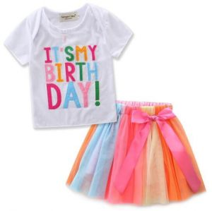 Girl Its My Birthday Clothing Dress 2pcs Outfits With White Tops Colorful Lace Tutu Skirts