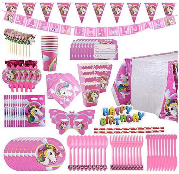 B Unicorn Party Supplies Pack Comes Disposable Tableware Birthday Decoration Set Serve 10 All In One Value Kit Perfect Kids