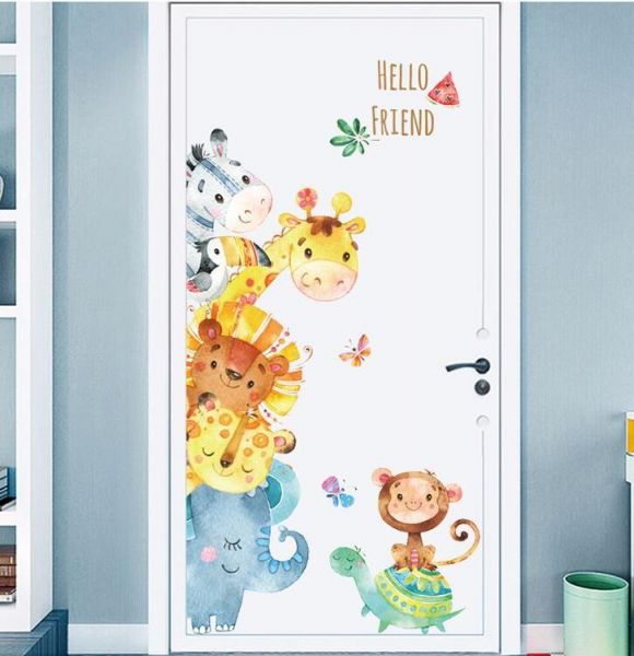 kids animal wall door stickers ,peel and stick removable wall decals