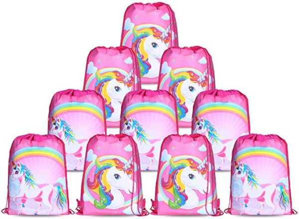 10pcs Set Unicorn Bags For Party Supplies Drawstring Shoulder Backpack Bag Bulk Girls Kids Children Birthday Candy Baby Shower