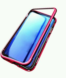 Samsung galaxy note8 cover/case, magnet with aluminium metal housing bumper case,99.9 percent crystal clear, 9H tempered glass back case, Clear with Red