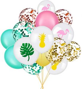 5a0d91a7ebb2b Set of 45 Party Balloon Flamingo Tropical Leaf Pineapple Balloons Colorful  Balloon with Round Confetti for Hawaii Luau Party Decorations