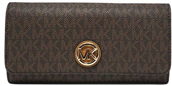 91e027990e0eb9 Michael Kors PVC MK Signature Fulton Flap Continental Wallet - Brown. by Michael  Kors, Wallets - Be the first to rate this product. 83 % off