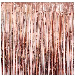 2 Pack Foil Fringe Curtains Photo Backdrop 3ft X 8 Ft Shiny Metallic Tinsel Party Door Curtain Booth Props Birthday Wedding Bridal Baby Shower