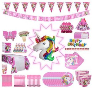 Unicorn Party Supplies Pack Comes Disposable Tableware Birthday Decoration Set Serve 10 All In One Value Kit Perfect Kids