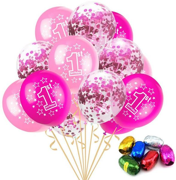15pcs Set 12 Inch 1 Year Old Balloon Confetti Random Ribbon Combination Baby Shower Birthday Party Decoration Balloons