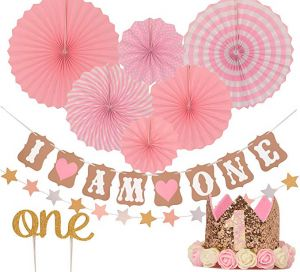 1st Birthday Decorations For Girl Kids Women Party Supplies Stars Paper Garland Gold Cake TopperOne Pink Banner Fiesta Hanging