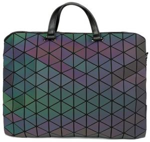 Geometric Luminous Briefcase Messenger Handbags Eco Friendly Leather Holographic Bag