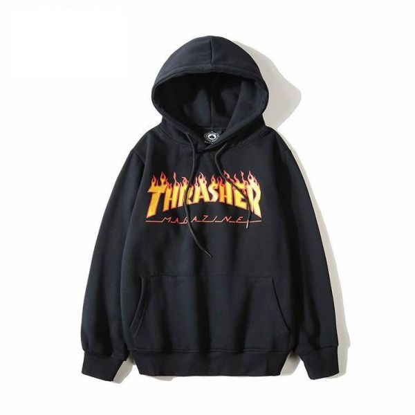 Thrasher Hoodie Flame Text  f66de3827957
