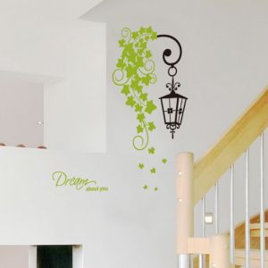 Easy To Install Wall Stickers Black Street Light Wall Art Green Pvc Sticker For Living Room Porch Couple Bedroom Dream About You Quotes Diy Home Art Mural Decorations Nursery Window Kids Room