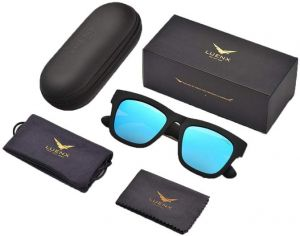 46851c670b LUENX Mens Wayfarer Sunglasses Polarized UV 400 Protection With case
