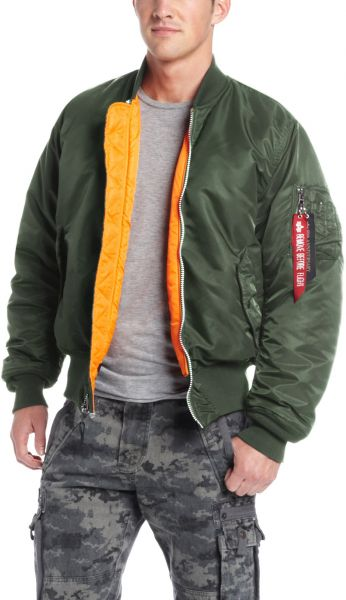حافظة Alpha Industries الرجالي ma-1 جاكيت محشوة - Ma-1 Flight Bomber Jacket  Small Sage Green ffe9859da3e