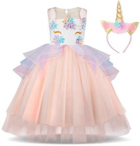 6c636a9e36a6b Baby Girl Unicorn Costume Pageant Flower Princess Party Dress Evening &  Formal Flower Girl Dress For Girls Pageant Party Tutu Dresses with Headband