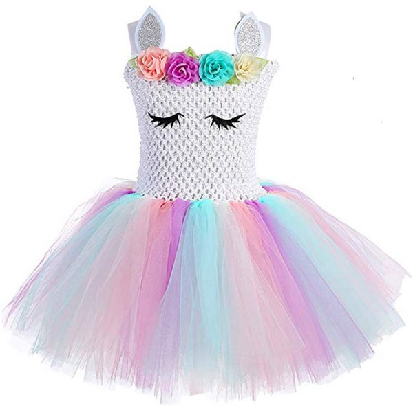 3a885cd51 Children Girls Rainbow Unicorn Tutu Dress Princess Fancy Dress ...