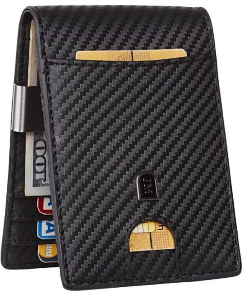 7b89954ba989 JM Mens Bifold Wallet Money Clip RFID Blocking Travel Wallet Credit Card  Holder | KSA | Souq