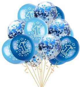 15 PCS 1st Birthday Balloons Boy Decorations KitFun To Be OneBlue And Sky Blue Color Sweet Party Decoration