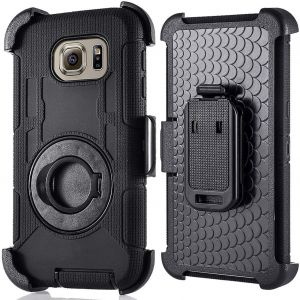 Compatible for Samsung Galaxy S7 Edge Case (Not for S7), PlusMall Rugged Shockproof Hybrid Protective Case Back Cover with Swivel Belt Clip Hard Holster ...