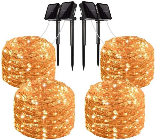 4 Pack Solar String Lights 200 Led Outdoor Copper Wire Light String Lighting Waterproof Starry Decoration Lamp For Patio Garden Party Wedding Holiday Festival Gate Yard Warm White Price In Saudi Arabia