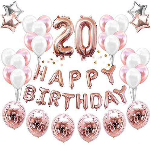 20th Birthday Decorations Party Suppies 38pack Rose Golden Number 20 Balloons Happy Balloon Banner Confetti Perfect