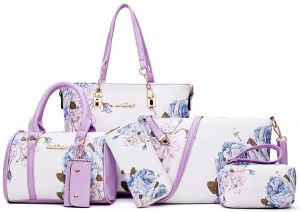 19c2c4bd974 Handbags Sets for Women PU Leather Light Purple with Multi-Color Embossing  Crossbody Tote Shoulder Satchels Bags Clutches Wallet Card Holder 6 Pcs Bag  Set