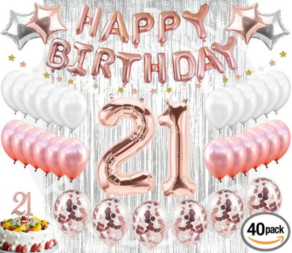 21st BIRTHDAY DECORATIONS 38 Pieces Cake Topper Party Supplies And