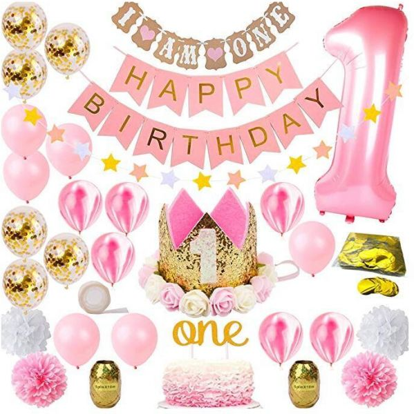 Girl Mega Bundle Pink And Gold Girls Theme Kit Set First Bday Tiara Crown Hat One Cake Topper Foil Confetti Marble Balloons Banner Poms Bunting