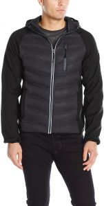 58fe1a231bf3 FOG by London Fog Men s Down Filled Hooded Jacket with Ragan Soft Shell  Sleeves