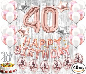 40th BIRTHDAY DECORATIONS Rose Gold 40 Pieces