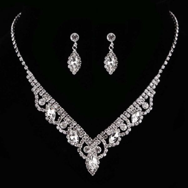 KaLaiXing Pearl Necklace Bride Diamond Jewelry Sets. Necklace Earrings  Diamond Water Droplets Elegant Women Jewellery Set of Crystal Pendant  Necklace ... 8bbbdb5684