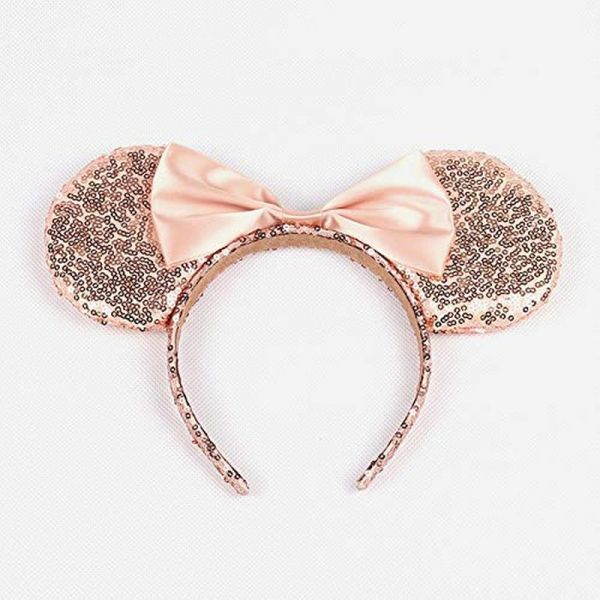 WLFY Mickey Mouse Minnie Mouse Sequin Ears Headbands Butterfly Glitter  Hairband (Champagne)  ff9bdab1d9e