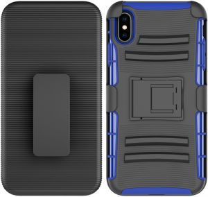 Iphone XS MAX anti-skid bracket TPU mobile phone Case Apple iPhone XS Max 6.5-inch waist hanging shatter-resistant shell-Blue