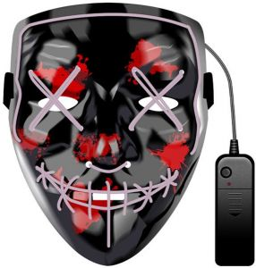 0719062240d White LED Glowing Mask Prom Bar Halloween Mask Fortress Night Mask Sewing  Mouth Terror Dance Mask